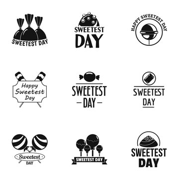 Sweetest day logo set. Simple set of 9 sweetest day vector logo for web design on white background