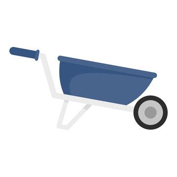 One wheel barrow icon. Flat illustration of one wheel barrow vector icon for web design