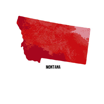Montana state. United States Of America. Vector illustration. Watercolor texture.