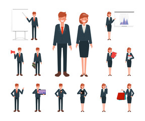 Businesswoman and businessman working character set vector design. Cartoon animated character.