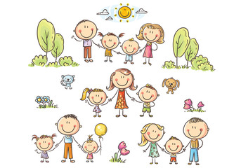 Happy families set with children, vector illustration