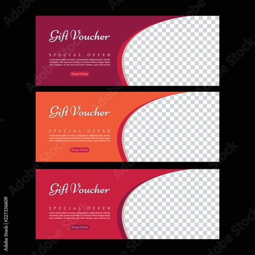 Gift voucher  Abstract poster vector  Facebook cover  Orange