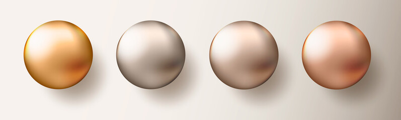 Four realistic transparent spheres or balls in different shades of metallic gold color on white background. Vector illustration eps10