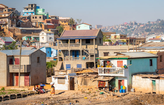 Antananarivo city view, capital of Madagascar. Tanarivo is a city of 3 million Madagascarians, who often farm rice and other crops. Villagers living nearby Antananarivo.