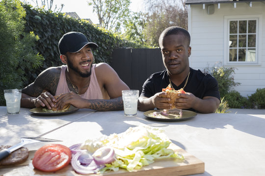 Friends enjoying burgers