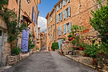 Mane, Forcalquier, Provence, France: ancient alley in the old town