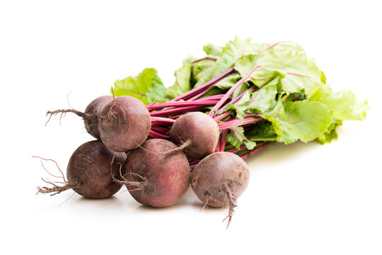 Bunch  of new beetroots isolated on white