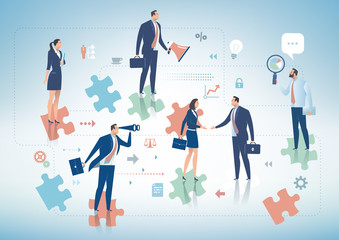 Business Solution. Group of business persons standing on the pieces of puzzle. Business concept illustration.