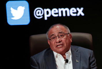 Javier Hinojosa Puebla, Director General of Pemex Exploration and Production, attends a news conference in Mexico City