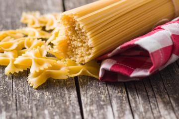 Spaghetti and farfalle pasta.