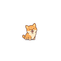 Cute shiba inu dog cartoon icon, vector illustration