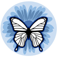 graphic element flower with butterfly
