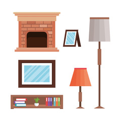livingroom elements set icons