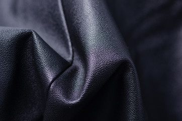 Black leather fabric textile material texture macro blur background