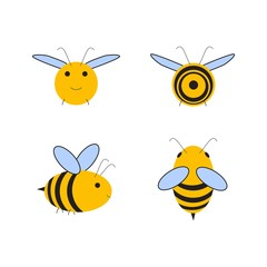 Busy Bee. Abstract flying Honey bee all four dimensions view. Front, top, side, back. view. Vector illustration