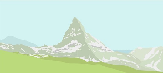 Mountain Matterhorn landscape. Glaciers on mountain, green valley, blue sky. Swiss Alps and Matterhorn mountain. Switzerland landscape. Vector illustration.