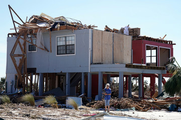 A home that has been destroyed by Hurricane Michael is pictured in Mexico Beach