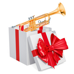 Gift box with trumpet, 3D rendering