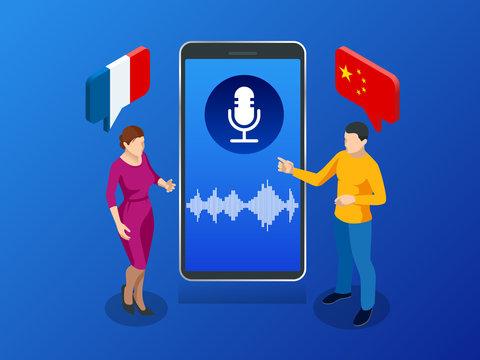 Online voice translator and learning languages concept. E-learning, translate languages or audio guide. Artificial Intelligence chatbot translator.