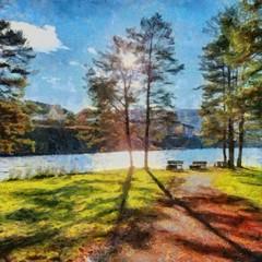 Hand drawing watercolor art on canvas. Artistic big print. Original modern painting. Acrylic dry brush background. Beautiful landscape. Wonderful travel view. Charming resort.