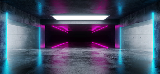Sci-Fi Futuristic Modern Grunge Concrete Empty Underground Tunnel Corridor Garage With Reflections And Blue Purple Neon Glowing Tube Lights 3D Rendering