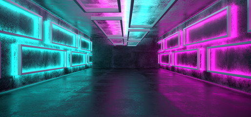 Sci-Fi Futuristic Modern Grunge Concrete Empty Underground Tunnel Corridor Garage With Rectangle Shapes Walls And Blue Purple Neon Glowing Tube Lights Background 3D Rendering