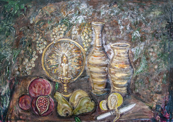 still life with fruit and a burning candle, oil painting