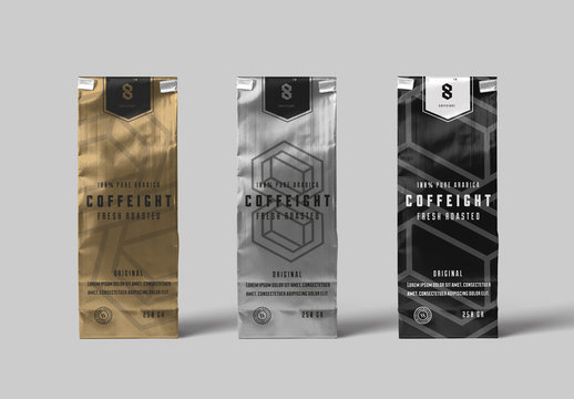 Metallic Coffee Bags Mockup