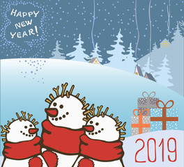 Three hand drawn vector snowmen in red scarves, boxes with gifts and congratulations on the New Year.