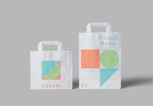 White Paper Bags Mockup