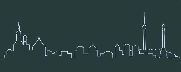 Stuttgart Single Line Skyline - fototapety na wymiar