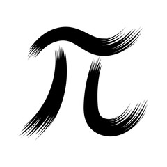 Pi symbol with brush strokes