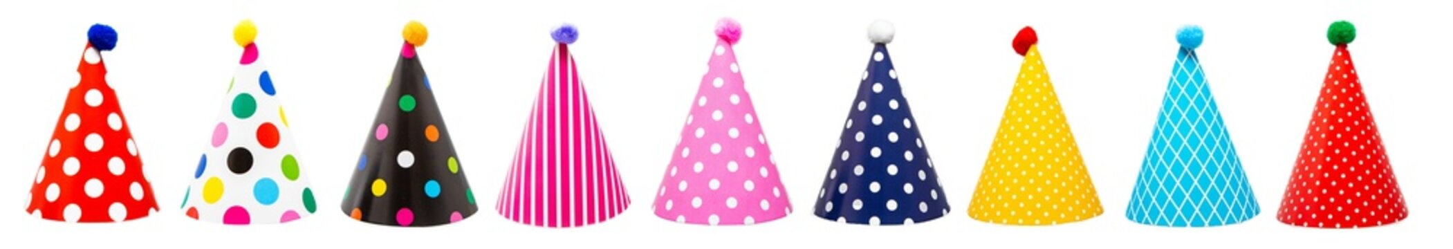 Nine Festive Birthday Party Hats Isolated