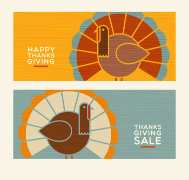 Happy Thanksgiving and autumn design elements set. Abstract turkeys and text designs. For greeting cards, web pages, banners, posters, decoration.