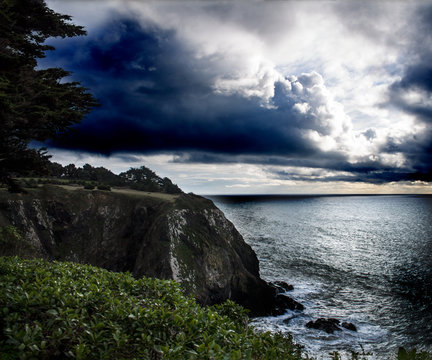 Cloudy Sky and Ocean at the Mendocino Coast