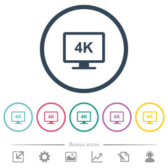 4K display flat color icons in round outlines