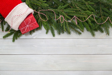 Christmas flat lay decor on wood