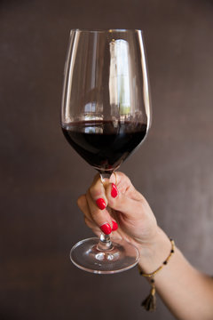 Glass of red wine.