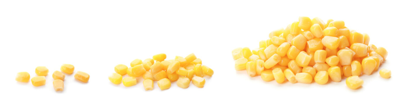 Set with sweet corn kernels on white background