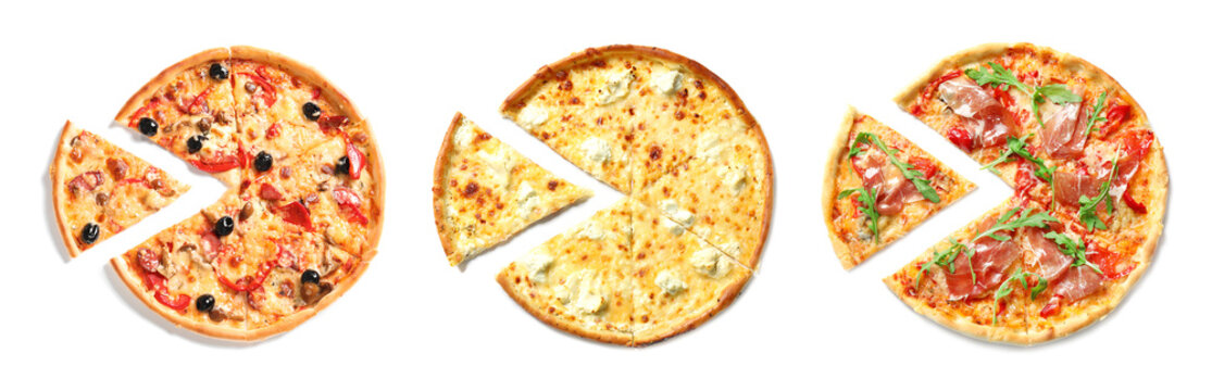 Set with different delicious pizzas on white background, top view