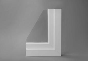 Sample of modern window profile on grey background