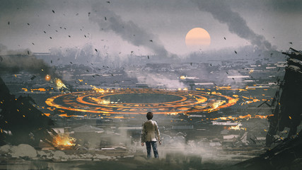 post apocalypse scene showing the man standing in ruined city and looking at mysterious circle on the ground, digital art style, illustration painting