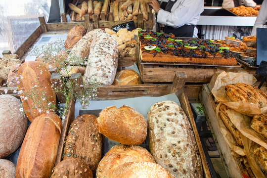 Fresh loaves of bread on display at farmers market