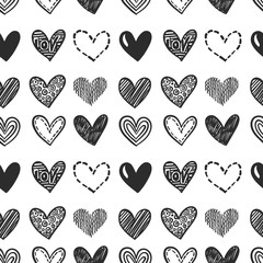 Hand drawn hearts. Vector seamless naive pattern for Valentine's day. Various doodle hearts background. Monochrome hand drawn repeatable backdrop.