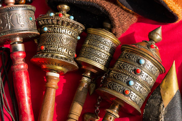 prayer wheels at a trailside shop in the Himalayas