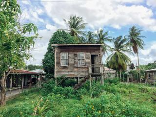 River house on stills in Guyana