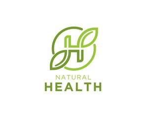 H Leaf Circle initial logo design inspiration