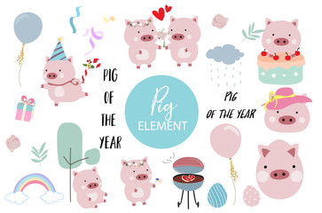 Pink hand drawn pig element with cake,barbecue,balloon,hat,cake,flower and rainbow.Pig of the year