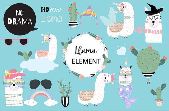 Blue hand drawn cute element with llamacorn, heart glasses,unicorn,rainbow and balloon.include wording No drama llama