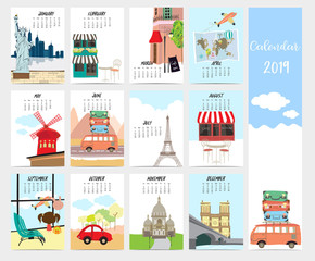 Cute monthly calendar 2019 with travel,vacation,van,air plane and Eiffel tower in france for children.Can be used for web,banner,poster,label and printable